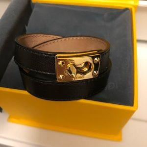 Fendi Black Double Loop Bracelet